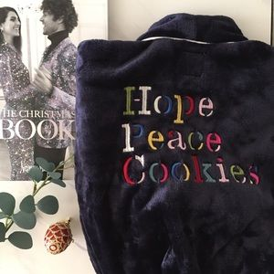 Kate Spade Fleece Robe Hope Peace Cookies